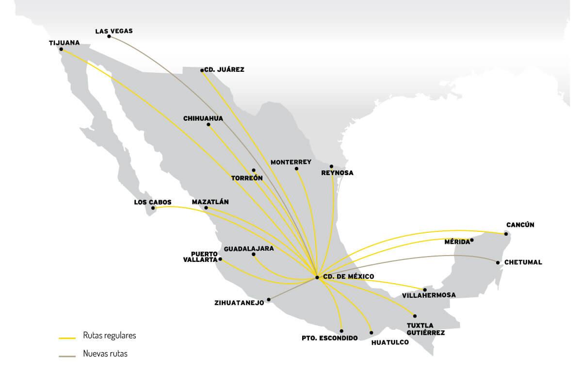 Mapa Destinos Ciudad de México VivaAerobus, la aerolínea de bajo costo de México
