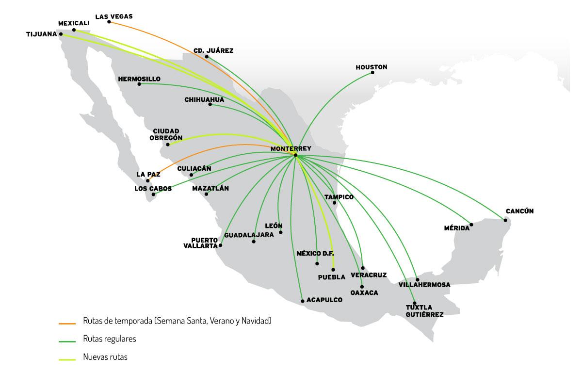 Mapa Destinos Monterrey  VivaAerobus, la aerolínea de bajo costo de México