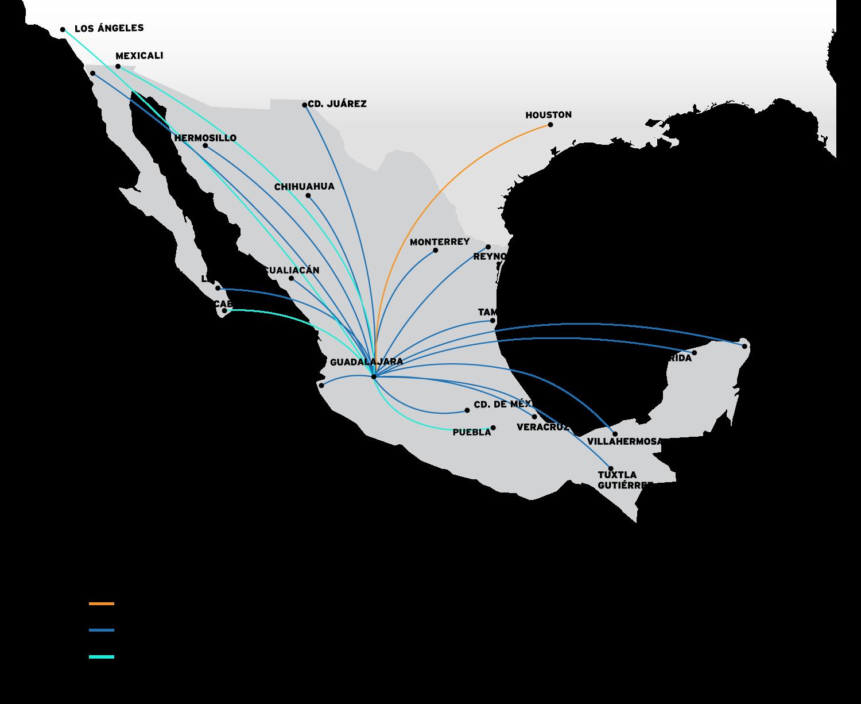 Mapa Destinos Guadalajara  VivaAerobus, la aerolínea de bajo costo de México