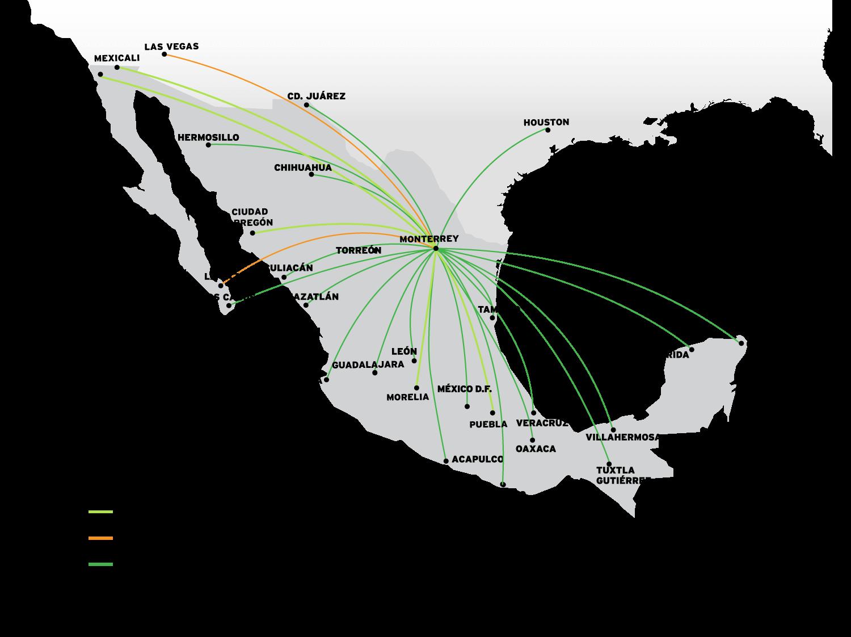Mapa Destinos Monterrey VivaAerobus la aerolnea de