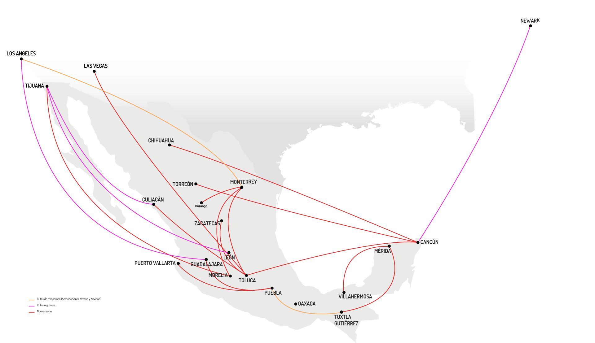 Mapa Destinos Otras Rutas  VivaAerobus, la aerolínea de bajo costo de México