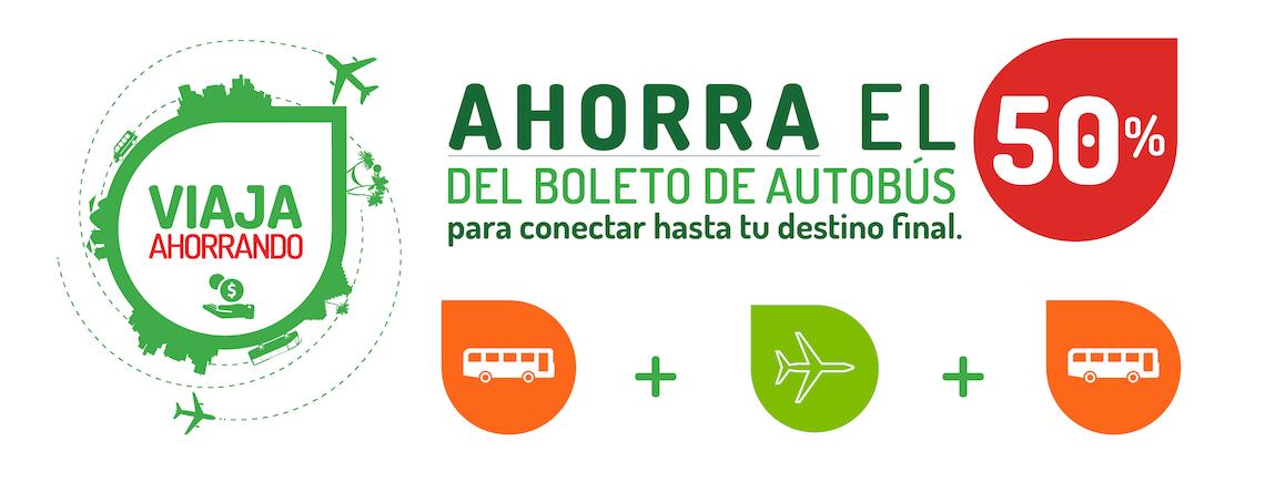 Ahorra el 50% del boleto de autobús para conectar hasta tu destino final.